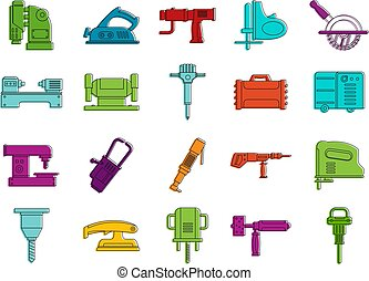 Electric tool device icon set, color outline style