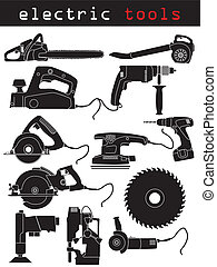 Electric tools  - Electric tool set of 12 in black and white