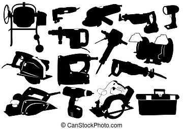 Electric tools isolated on white