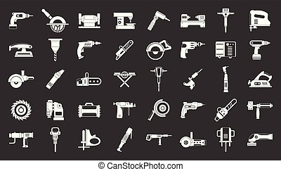 Electric tools icon set grey vector