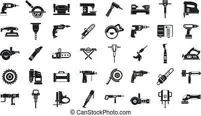 Electric tools icon set, simple style