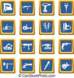Electric tools icons set blue