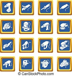 Electric tools icons set blue square vector