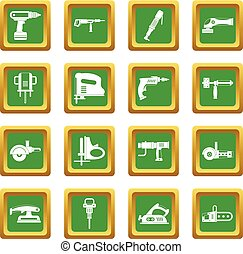 Electric tools icons set green