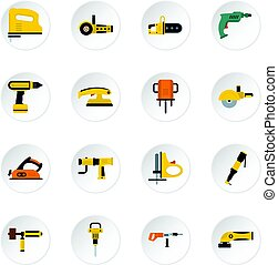 Electric tools icons set in flat style