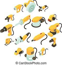 Electric tools icons set, isometric cartoon style