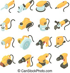 Electric tools icons set, isometric cartoon style