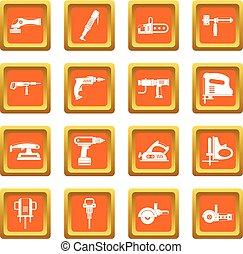 Electric tools icons set orange