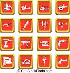 Electric tools icons set red