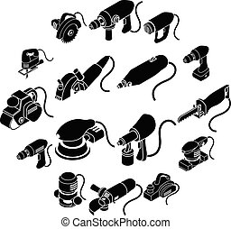 Electric tools icons set, simple isometric style