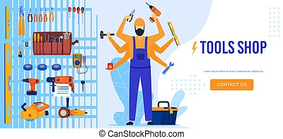 Electric tools shop, technician worker electrician performing electrical works, equipments and tools flat vector illustration.