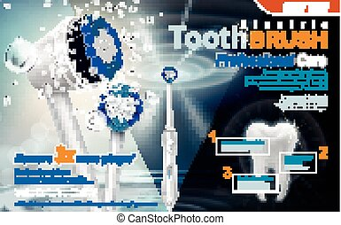 electric sonic toothbrush ad, with sonic wave and water drop elements, 3d illustration