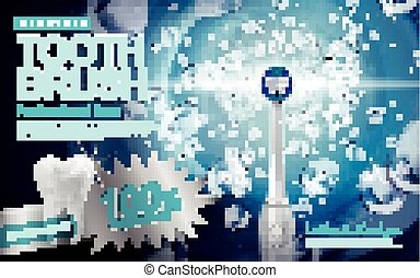 electric sonic toothbrush ad, with sonic wave and water splash elements, 3d illustration