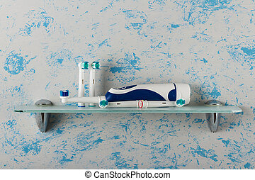 Electric toothbrush, replaceable nozzles, on glass shelf in...