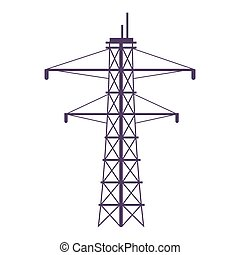 Electric tower cartoon vector illustration. Powerline pylon flat color object. Large metal construction for electricity distribution isolated on white background. Telephone, power line