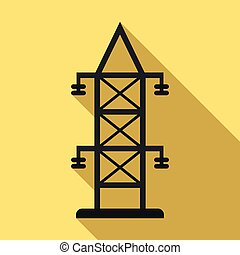 Electric tower icon. Flat illustration of electric tower vector icon for web design
