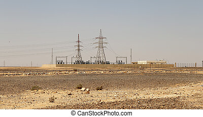 Electric tower in the Stone Desert, Jordan, Middle East
