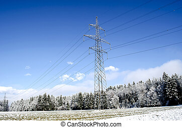Electric tower in winter