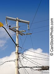 electric tower messy electrical wiring installation in...
