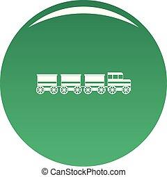 Electric train icon vector green