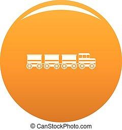 Electric train icon vector orange