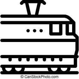 electric train icon vector outline illustration