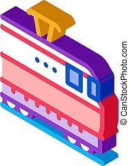 electric train isometric icon vector illustration