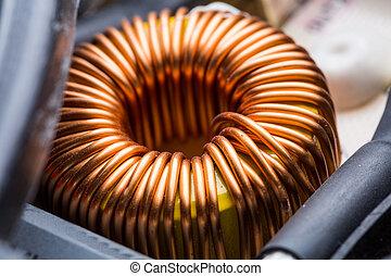 Electric transformer copper coil closeup. Electrical component