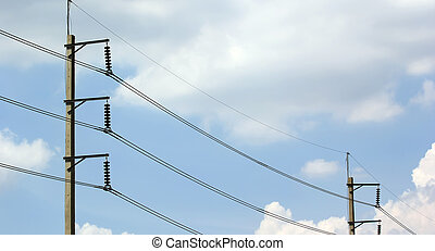 Electric transmission cables and beautiful sky