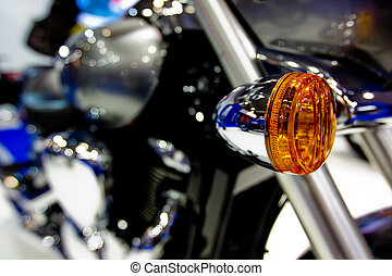 Electric turn signal of motorcycle - Close-up image of turn ...