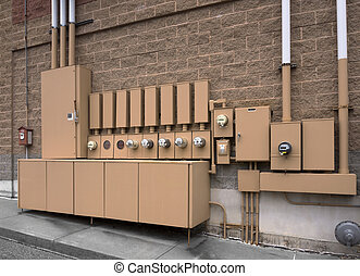 Electric utility meters for a store complex