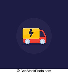 electric van vector icon in flat style