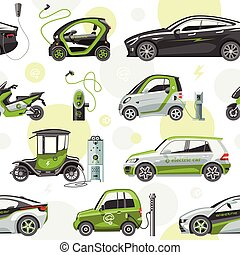 Electric vector car with solar panels eco electro transport illustration automobile socket electrical car battery charger seamless pattern background
