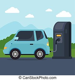electric vehicle car in charging station road