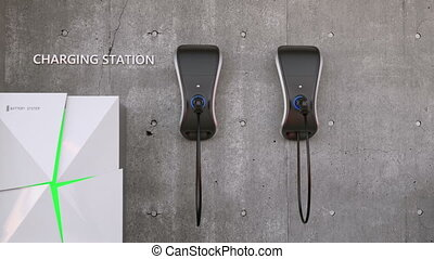 Electric vehicle charging station - Animation of electric...