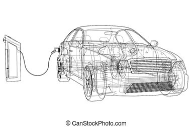 Electric Vehicle Charging Station Sketch