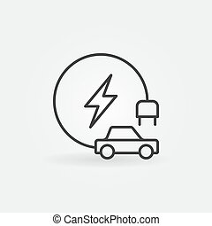 Electric vehicle concept outline icon