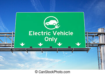Electric vehicle only green traffic road sign with symbol of electric car on sky background. Ecology and environmental concept background.