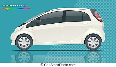 Electric vehicle or hybrid car in outlines. Template isolated illustration. View side on a transparent background. Change the colour in one click.