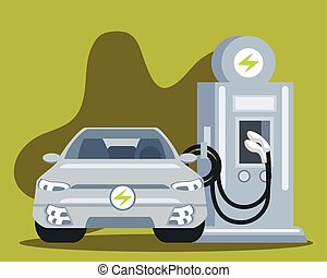 electric vehicles car in charging station