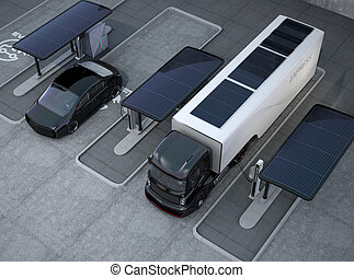 Electric vehicles in charging spot