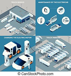 Electric Vehicles Isometric Design Concept - Futuristic ...