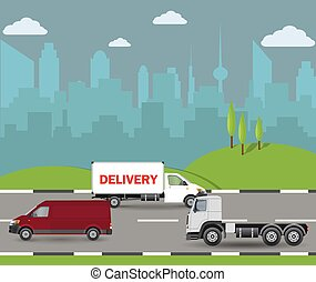 Electric vehicles on the road. Car, truck and autonomous bus. Vector illustration EPS 10