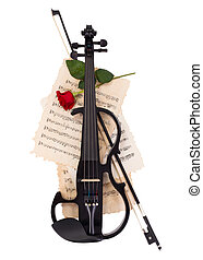 Electric violin, bow and red rose