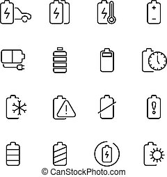Electric watt rechargeable battery thin line vector icons