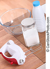 Electric whisk and ingredients