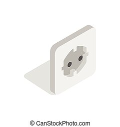 Electric white socket icon, isometric 3d style