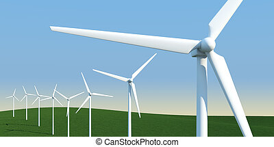 electric windmills on a meadow - row of electric windmills...
