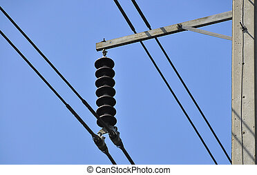 electric wire and blue sky background