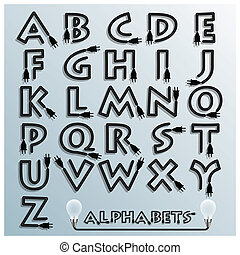Electric Wire And Plug Alphabets Font Style